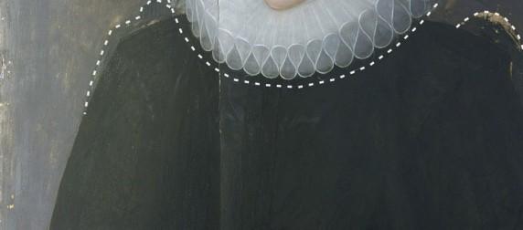 Portrait of a widow pentimenti